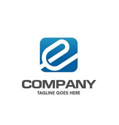letter e square memorable logo vector image