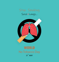 Lungs icon and cigarettequit tobacco logo design vector