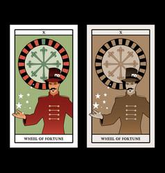 Major arcana tarot cards the wheel fortune vector
