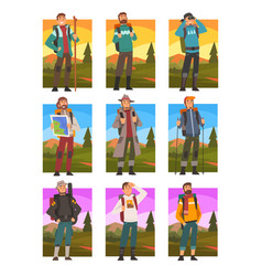male tourists hiking in mountains with backpacks vector image