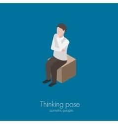 Man sitting on box vector image