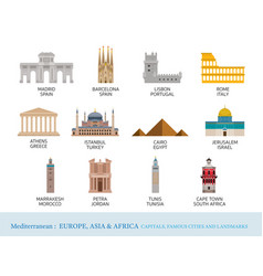 Mediterranean europe africa asia cities landmarks vector