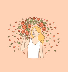 natural beauty and flowers concept vector image