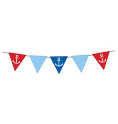 Nautical bunting with anchor vector