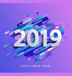 new year 2019 on modern gradient motion background vector image
