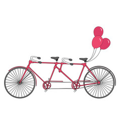 Old retro romantic tandem bicycle with balloons vector