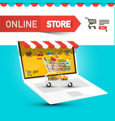 online store design with cart and items icons on vector image