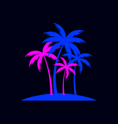 Palm trees in blue and pink fashionable color vector