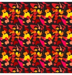 pattern yellow red black leaves waves vector image