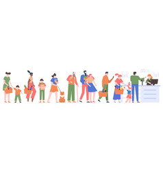 people grocery queue characters crowd waiting vector image