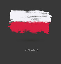 poland colorful brush strokes painted national vector image