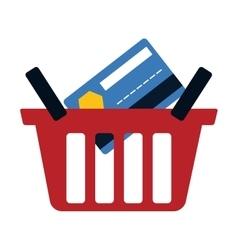 Red basket buy online bank credit card digital vector