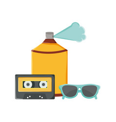 retro music cassette with spray paint and vector image