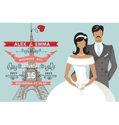 Retro Wedding invitationFlat bridegroomEiffel vector