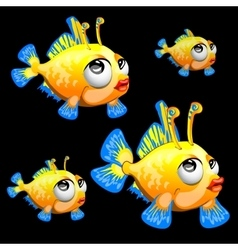 Sad yellow fish with antenna and blue fins toon vector image