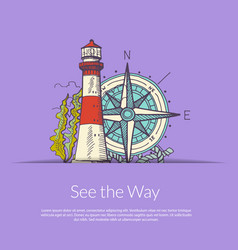 sea navigation lighthouse and wind rose vector image
