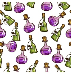 Seamless background with chemical flasks vector image