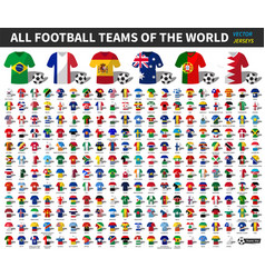 set all national football or soccer team vector image
