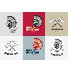 set american indian badges vector image