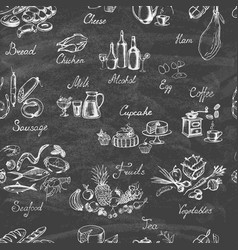 set hand drawn food on chalkboard vector image