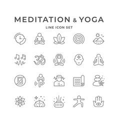 set line icons meditation and yoga vector image
