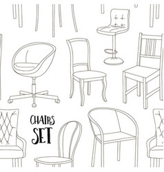 Set of chairs pattern vector