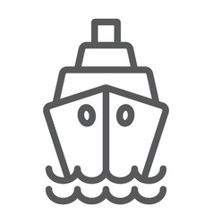 ship line icon cruise and sail boat sign vector image