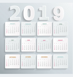 simple calendar for 2019 year vector image