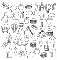 sketch contour set elements daily life icon vector image