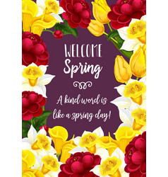 spring time blooming flowers greeting card vector image