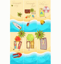 summer holiday posters set vector image