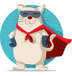 Superhero cat cartoon funny character vector