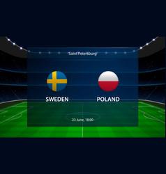 Sweden vs poland football scoreboard broadcast vector