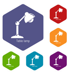 table lamp icons hexahedron vector image