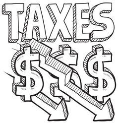 Taxes and arrow vector image