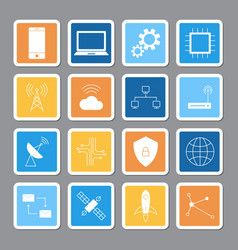 Technology digital sticker shadow icon set vector