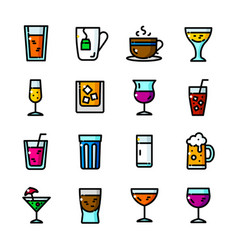 thin line beverage icons set vector image