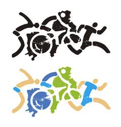 triathlon fitness sports grunge stylizes icons vector image