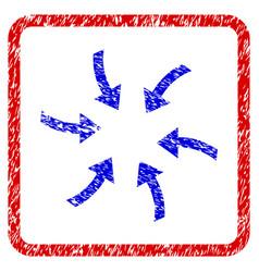 Twirl arrows grunge framed icon vector