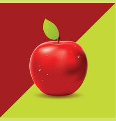two colored background with red apple vector image