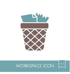 Wastebasket outline icon workspace sign vector