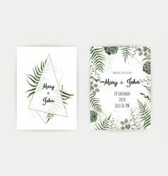 Wedding invitation with green leaf eucalyptus vector
