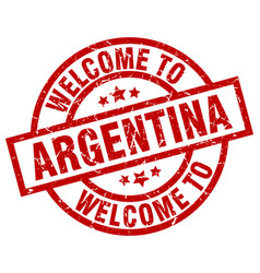 welcome to argentina red stamp vector image