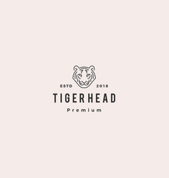 white tiger head logo icon line outline monoline vector image