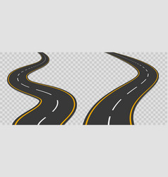 winding curved road with markings vector image