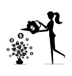 woman watering money plant gaining money concept vector image