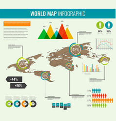 World map infographic template 3d isometric vector