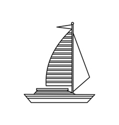 Yacht with sails icon outline style vector image