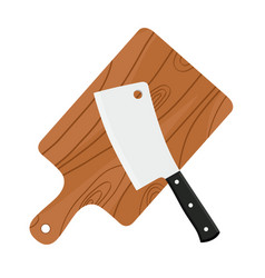 cleaver butchers sharp knife for meat with board vector image
