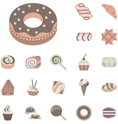 Flat icons collection for confectionery vector image vector image